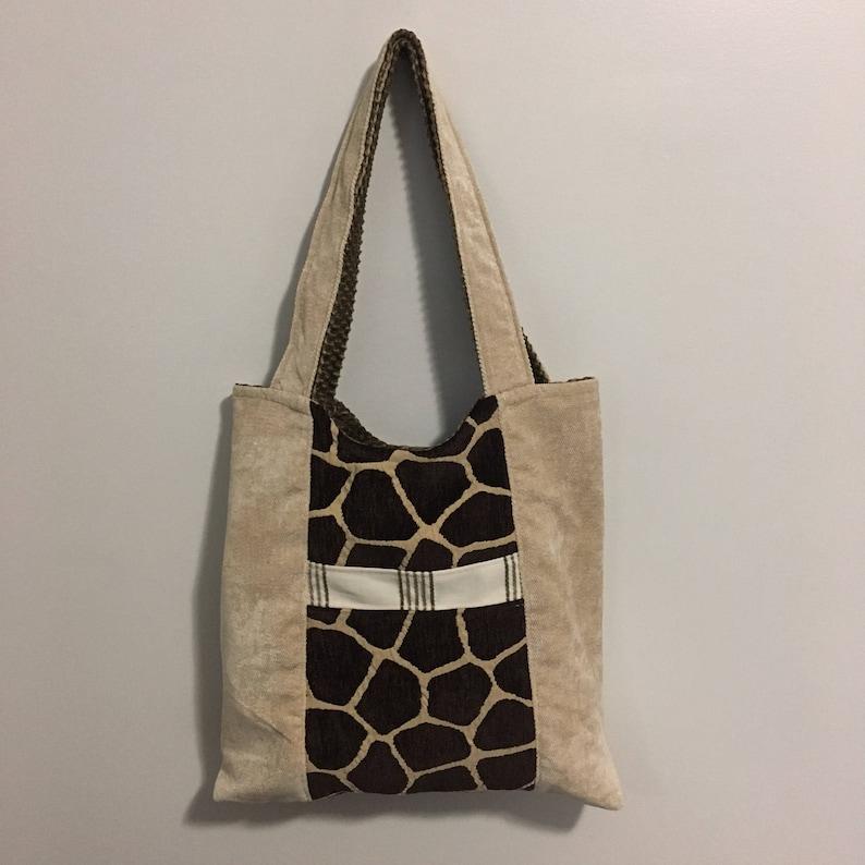 Giraffe Print and Green Reversible Tote Bag Purse image 0