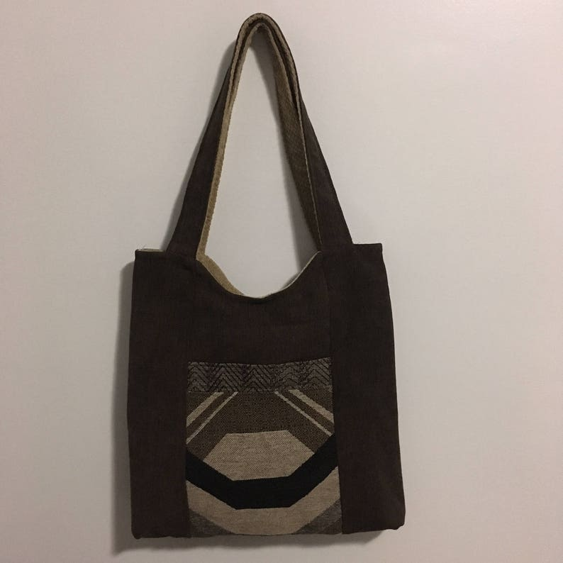 Brown and Gold Reversible Tote Bag Purse image 0