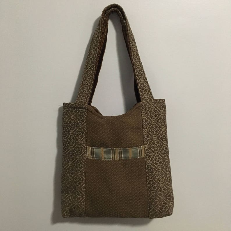 Tan and Red Traditional Reversible Tote Bag Purse image 0