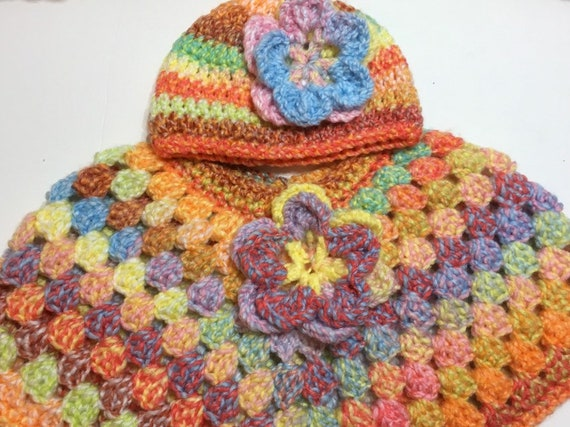 READY TO SHIP     Handmade Crocheted Toddler Poncho and Hat ~ Yellow ~ Acrylic ~ Size 2 to 4 years