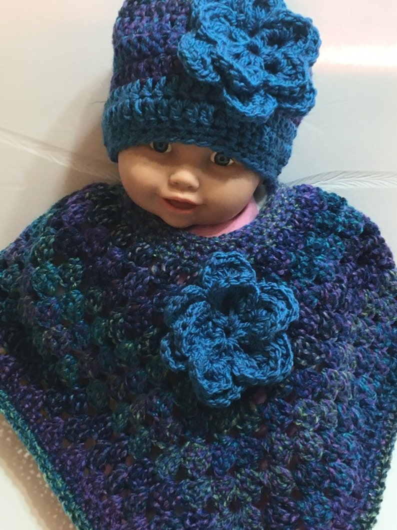 READY TO SHIP     Handmade Crocheted Toddler Poncho and Hat ~ Multicolor ~ Acrylic ~ Size 2 to 3 years