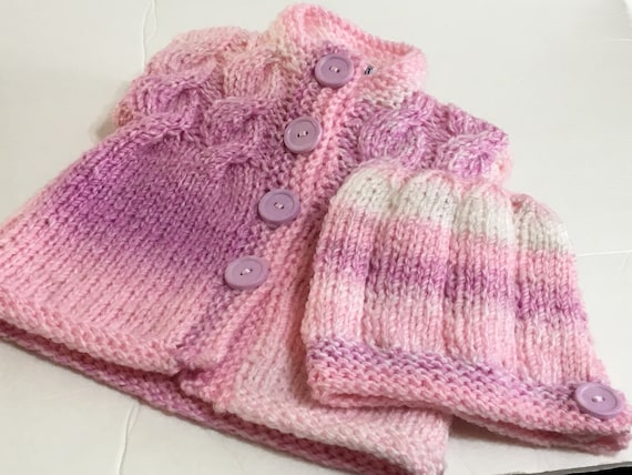 7c4085d76452 READY TO SHIP Knit Baby Cardigan and Hat Chunky Weight