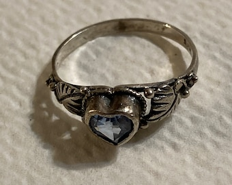 Sterling silver Native American ring with aquamarine heart stone.  Size 6