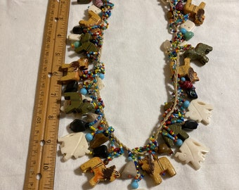 African art colorful animal fetish beaded necklace with bone elephant beads