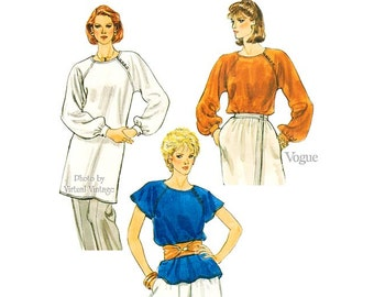 Women's Blouse or Tunic Pattern, Vogue 8268, Short or Long Sleeve Loose-Fitting Tops, Size 14, Uncut
