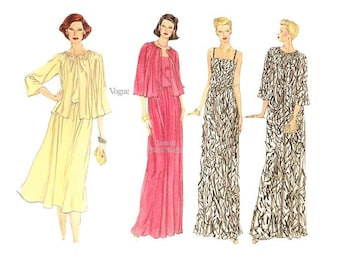 Easy Evening Gown Pattern, Vogue 9802, Sleeveless Dress with Jacket & Coat Sewing Patterns, Bust 34, Uncut