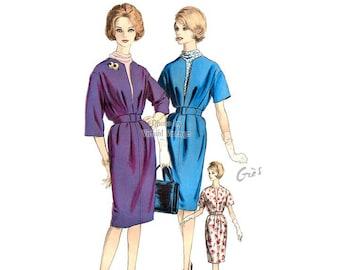 Vogue Paris Original 1039, Madame Grès Dress, Vintage 1960s Sewing Pattern, V Neck Dress & Dickey, Bust 34