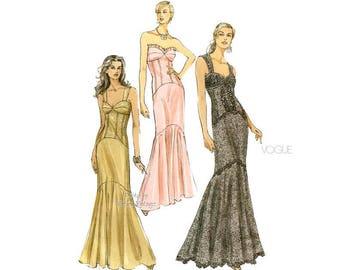 Mermaid Dress Pattern, Vogue V8288, Strapless Evening Gown Patterns, Size 4, 6, 8, 10