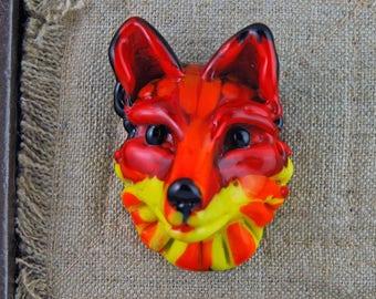Red Fox Head Glass Bead, Lampwork glass, Fantasy Fox, Fox totem bead, Focal Bead, hot glass,