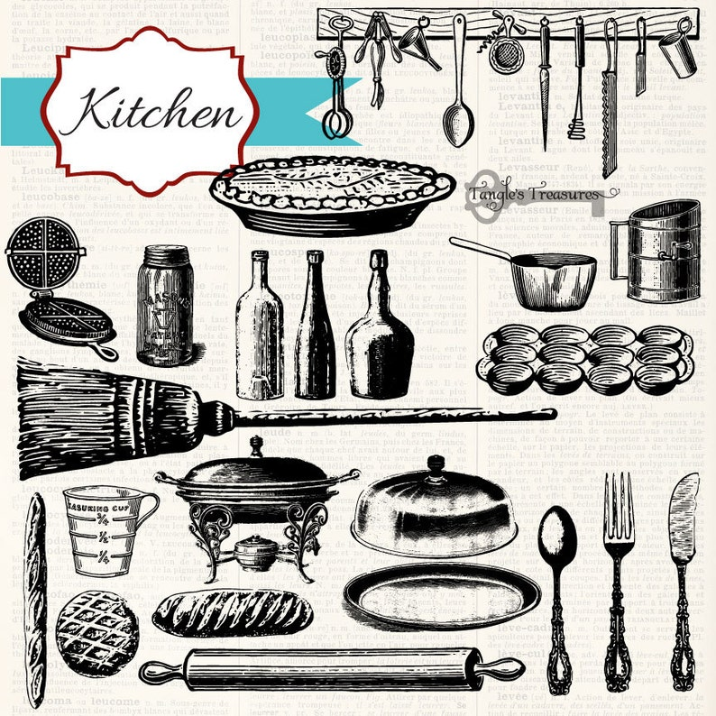 digital clip art and photoshop brushes: Commercial and Personal Use 50/% OFF SALE Instant Download Vintage Kitchen