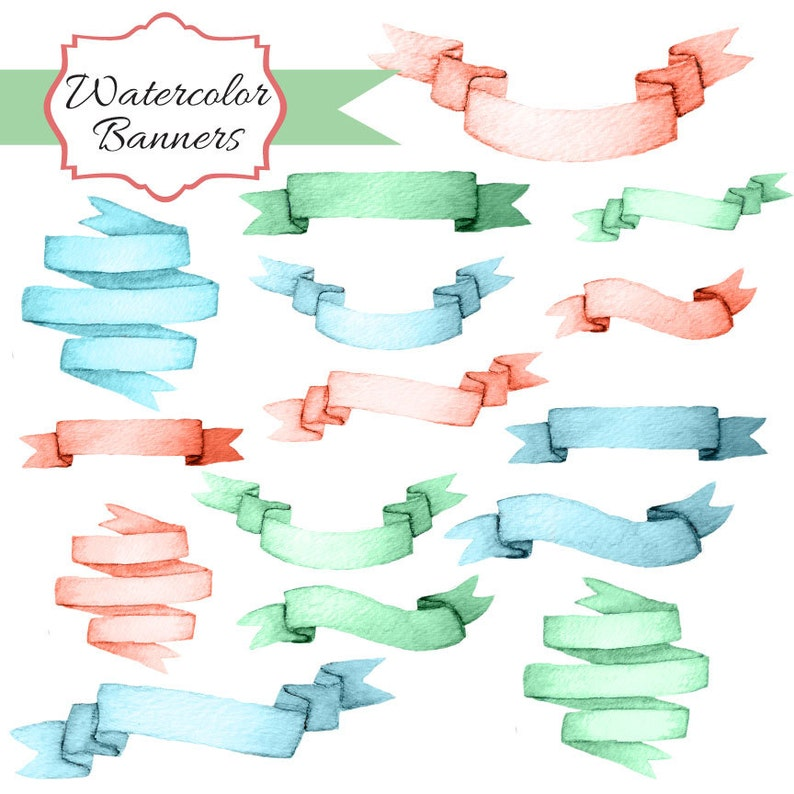 commercial use Instant Download 50/% OFF SALE Watercolor Banners  2- digital clipart- printable artwork
