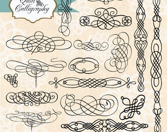 50% OFF SALE! Vintage Quill Calligraphy, digital clip art and photoshop brushes: Commercial and Personal Use, No. B23