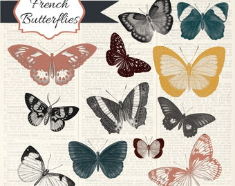 50% off SALE French Butterflies, digital clip art and photoshop brushes: Commercial and Personal Use
