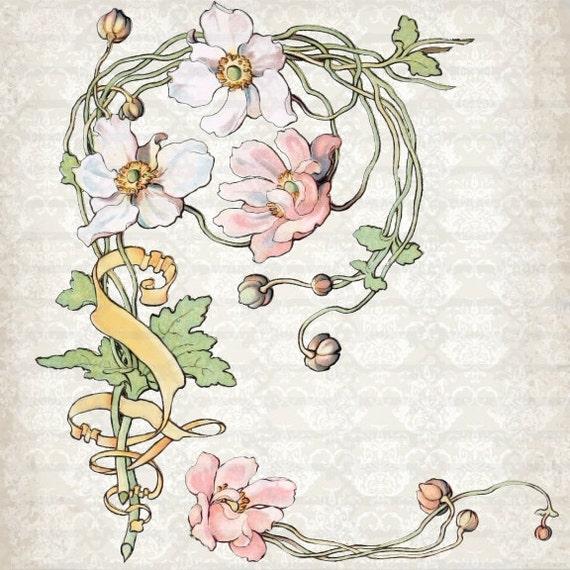 Art Nouveau Tattoo Nouveau: Items Similar To Vintage Art Nouveau Watercolor Anemone
