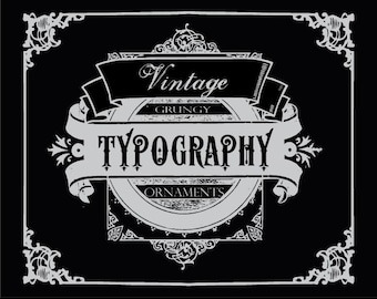 50% OFF SALE! 92 Vintage Typography Ornaments digital clip art, photoshop brushes and vectors: Instant Download