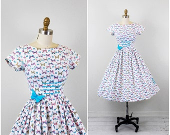 r e s e r v e d - vintage 1950s 50s dress // butterfly dress // Pink, Blue, and White Butterfly Print Cupcake Dress