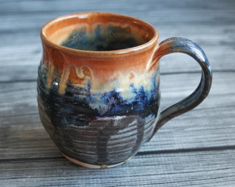 Handcrafted Pottery Mug with Dripping Gold, Blue and Gray Glazes Wheel Thrown Coffee Cup 13 oz. Made in USA Ready to Ship