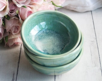 Kitchen Prep Bowls Handcrafted Made in USA Ready to Ship Set of Three Small Ceramic Bowls