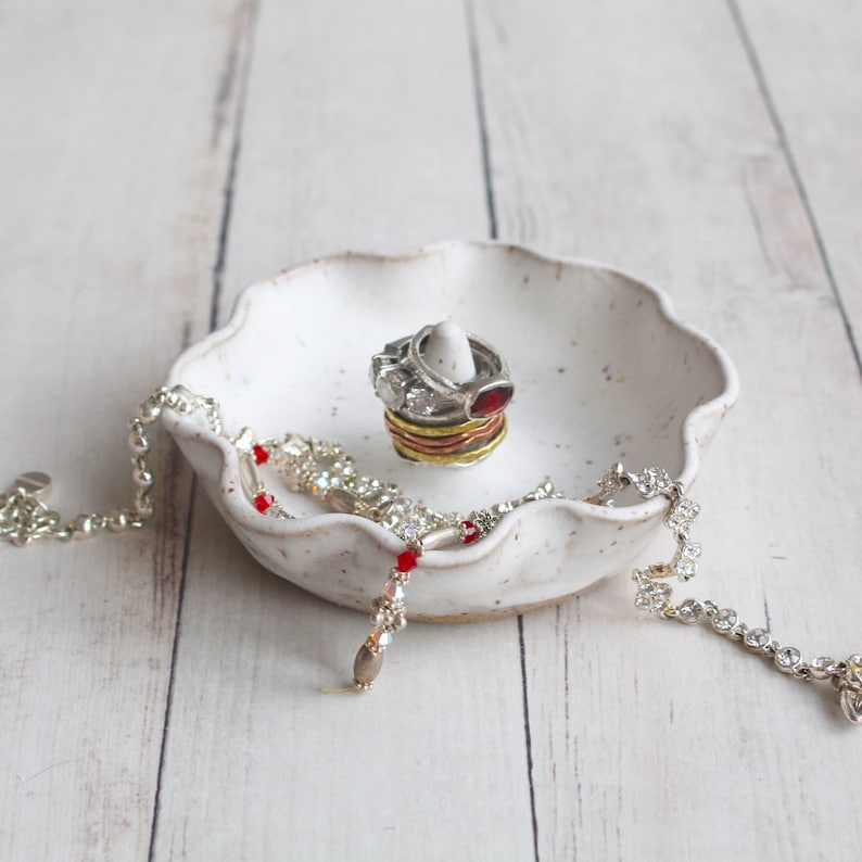 Matte White Speckled Ceramic Jewelry Dish Ring Holder Ready to Ship Handcrafted in USA Engagement Gift