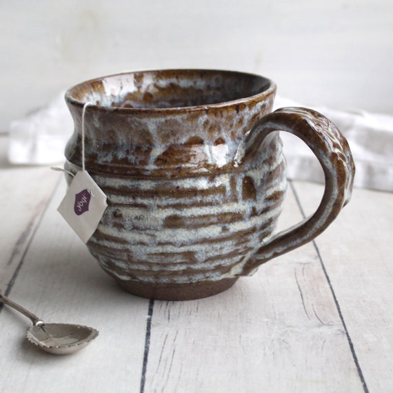 rustic mug in dark brown speckled stoneware and dripping white etsy