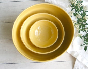 Ceramic Nesting Bowls in Cheerful Yellow Glaze Set of Three Stacking Bowls Handcrafted Wheel Thrown Made in USA