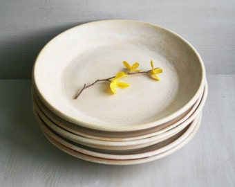 Reserved for Jen Crump - Set of Six Dinner Plates - Rustic Dishes in Creamy White and Honey Glaze Stoneware Pottery - Handmade Dinnerware
