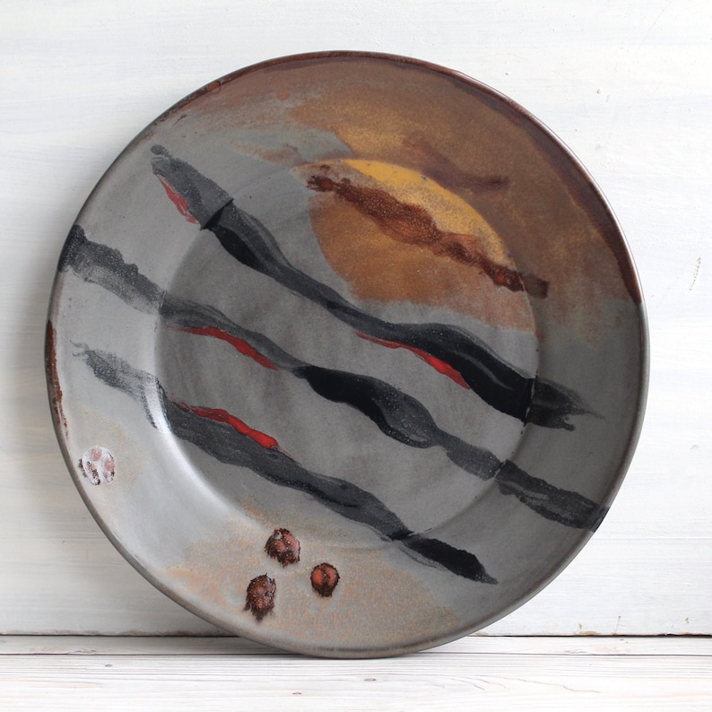 Hand Glazed in Modern Contemporary Design Handmade Pottery Dish Gorgeous Art Pottery Dinner Plate Ready to Ship Made in USA