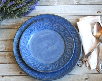 Rustic Dinnerware Place Setting Handmade Ceramic Stoneware in Rich Indigo Glaze - One Dinner and Salad Plate Made in USA Ready to Ship