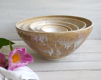 Rustic White Nesting Bowls, Large Ceramic Set of Five White and Ocher Stoneware Bowls, Handmade Pottery Ready to Ship Made in USA