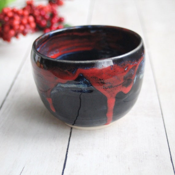 c9bae9b285fc Black and Red Glazed Yunomi Cup 13 oz. Handcrafted Stoneware