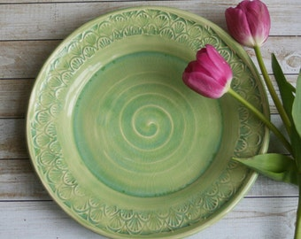 Spring Green Dinner Plate Handmade Pottery Dinnerware Ready to Ship Made in USA & Two Rustic Green Dinner Plates Handmade Stoneware Ceramic