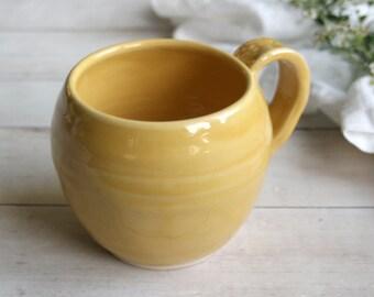 Large Stoneware Coffee Mug in Cheerful Yellow Glaze Handmade Pottery 16 oz. Made in USA Ready to Ship