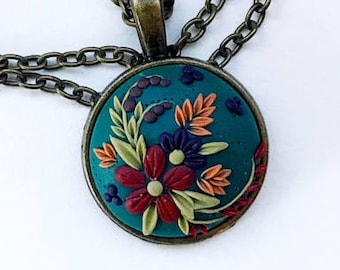 Autumn Flowers~Polymer Clay Floral Pendant Necklace~Handmade~Gift