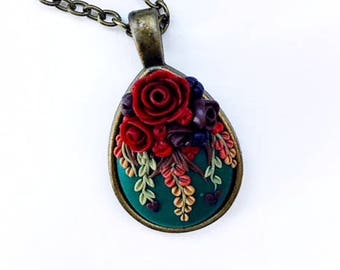 Autumn Bouquet~Polymer Clay Floral Pendant Necklace~Handmade~Gift