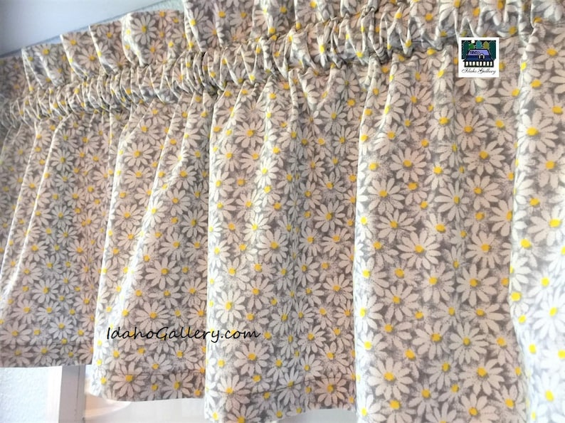 Gray with White Tiny Daisies Daisy Floral Valance Modern Short image 0