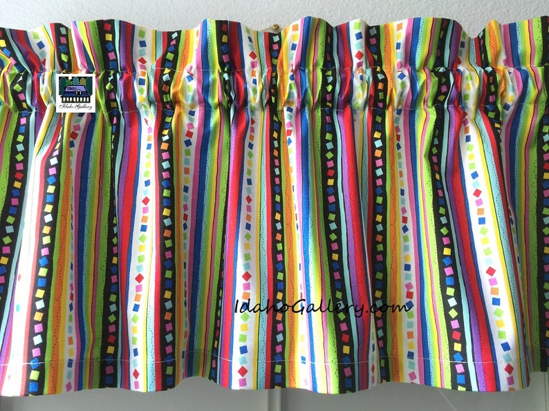 Back to School Rainbow Stripes & Confetti Valance Teacher image 0