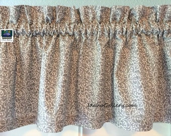 """Dark Gray Valance with White and Light Gray Design Short Valance Bedroom or Kitchen Curtain 14"""" L x 42"""" W with Free Ship Option"""
