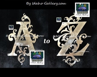 Monogram Letters Swirled Stainless Steel, Metal Art, A to Z, Front Door, Walls, Decorative Letters, House Sign, Indoor, Outdoor, Ships Free