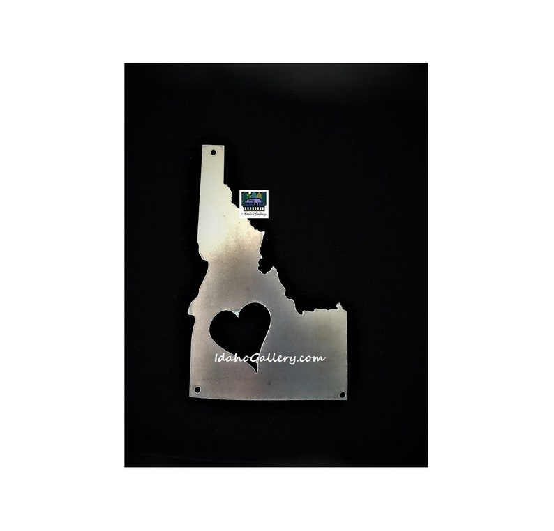 Idaho Heart Love Idaho Idaho State Sign Metal ArtRustic image 0