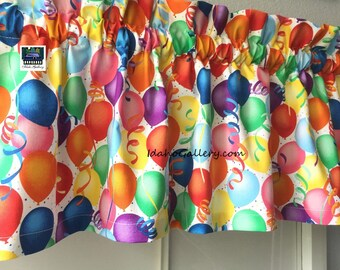 """Colorful Balloons Celebration Party Decor Birthday Party Rainbow Valance Kitchen Curtain Short Curtain 11"""" Long x 40"""" Wide at Idaho Gallery"""