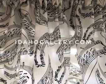 Music Decor Swirling Musical Notes Tunes Songs Keys Black and White Short Curtain Decorative Kitchen Curtain Sheet Music Lovers Valance