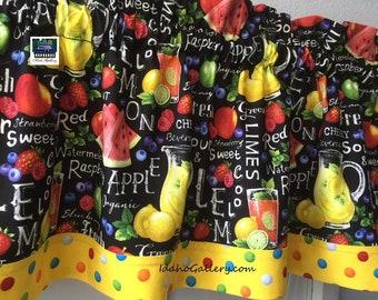 "Kitchen Curtain Watermelon Lemonade Stand Berries Summer Curtain 13"" x41"" Valance Idaho Gallery Our Original Curtain Designs Special Order"