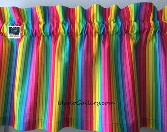 "Painted Rainbow Stripes Valance Teacher Classroom Daycare PreSchool Valance Kitchen Curtain Short Curtain 11"" x 41"" Wide at Idaho Gallery"