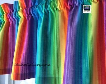 "Rainbow Streaked Striped Valance Teacher Classroom Daycare PreSchool Valance Kitchen Curtain Short Curtain 11"" x 40"" Wide at Idaho Gallery"