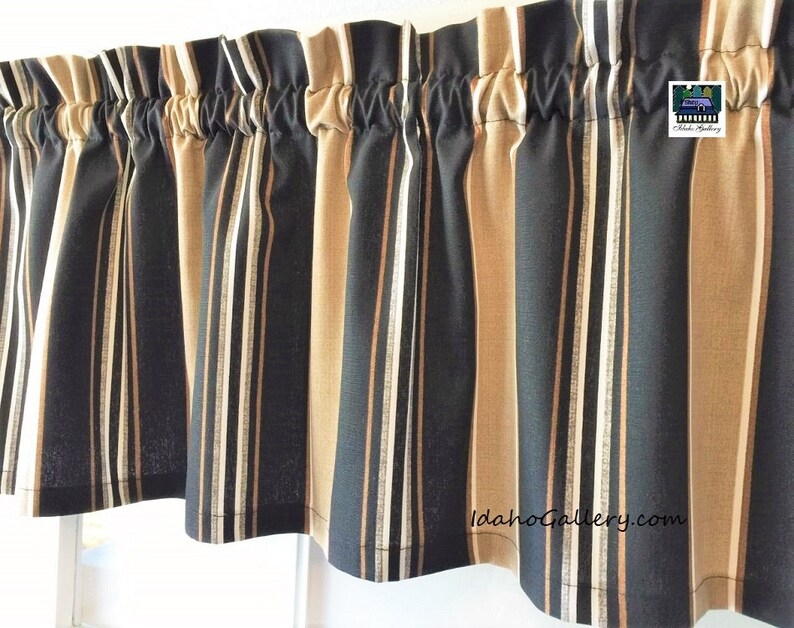 Striped Curtain Black Brown White Gray and Tan Stripes Window image 0