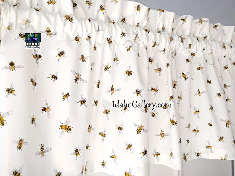 Bee Valance Honey Bee Curtain Bee Collectors White Curtain image 0