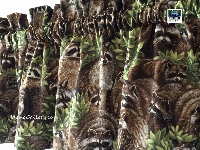 Raccoon Curtain Valance Raccoon Decor Choose 11 or image 0
