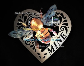 Bee Mine Perfect Gift for Bee Lovers, Metal Art, Yard/Wall Art,Bee Collector,Bee Keeper,Bee Lover,In-Outdoor Stainless & Steel Free Shipping