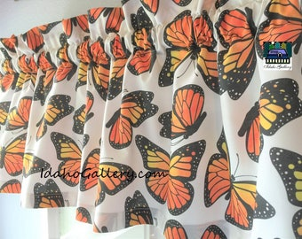"""Monarch Butterfly Large Print Butterflies 2 Valances Beadroom Curtains Set of Two 11"""" x 40"""" Each Custom Special Order Only Window Treatment"""