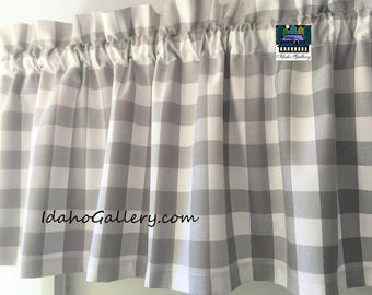 """Buffalo Check Gingham 1"""" Gray and White Check Kitchen Curtain Country Curtain 14 x 42 Retro Style or Farmhouse Valance with Free Ship Option"""